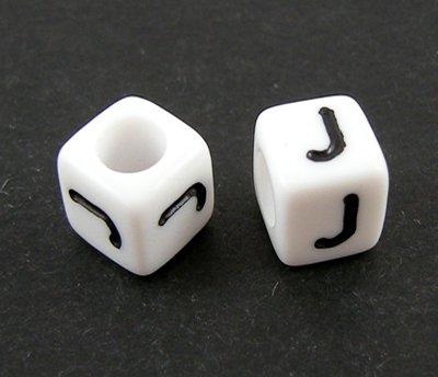 6mm PLASTIC ALPHABET CUBE -- J --