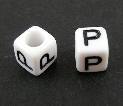6mm PLASTIC ALPHABET CUBE -- P --