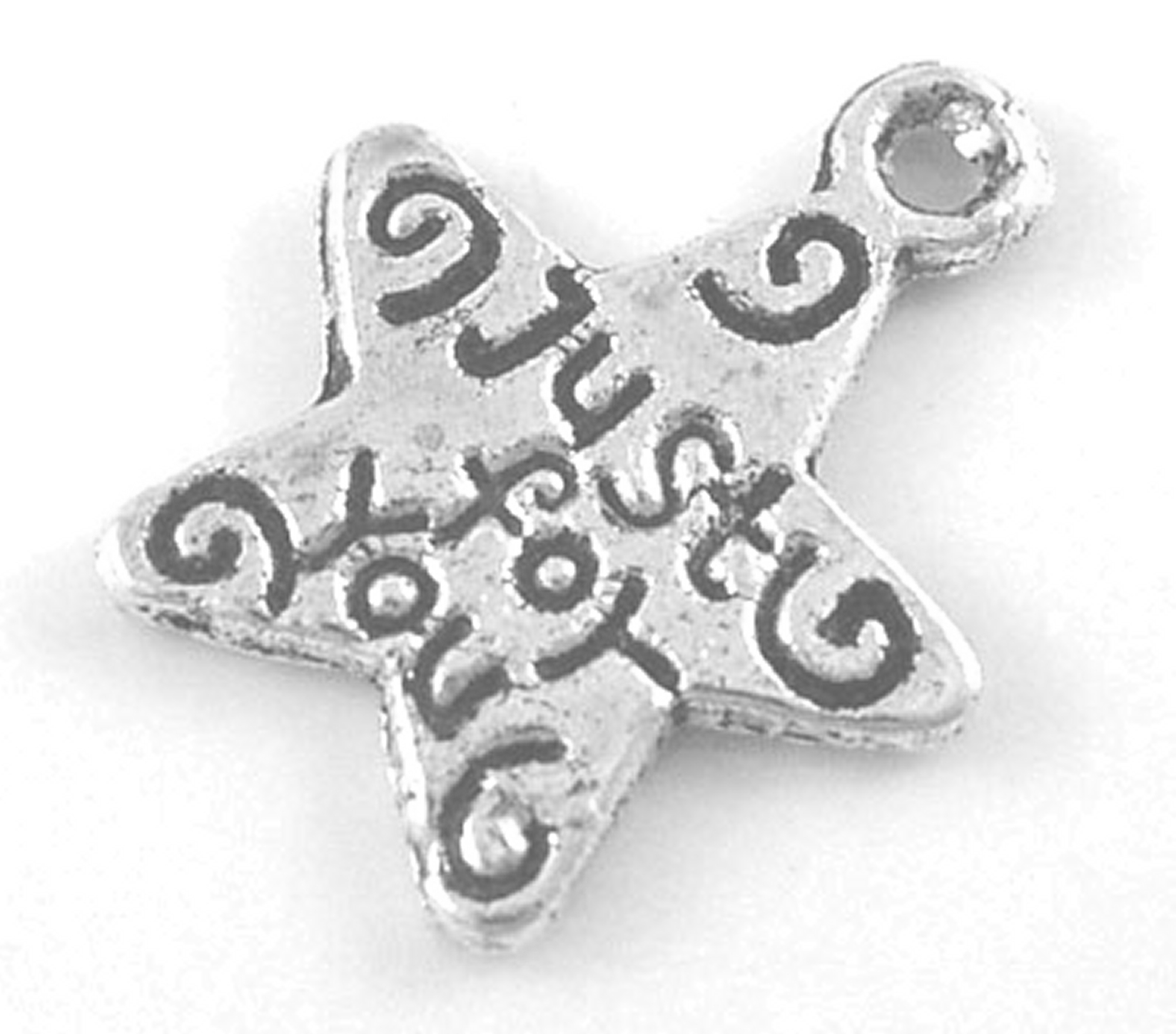 Tibetan Silver Colour Just For You Star Charm