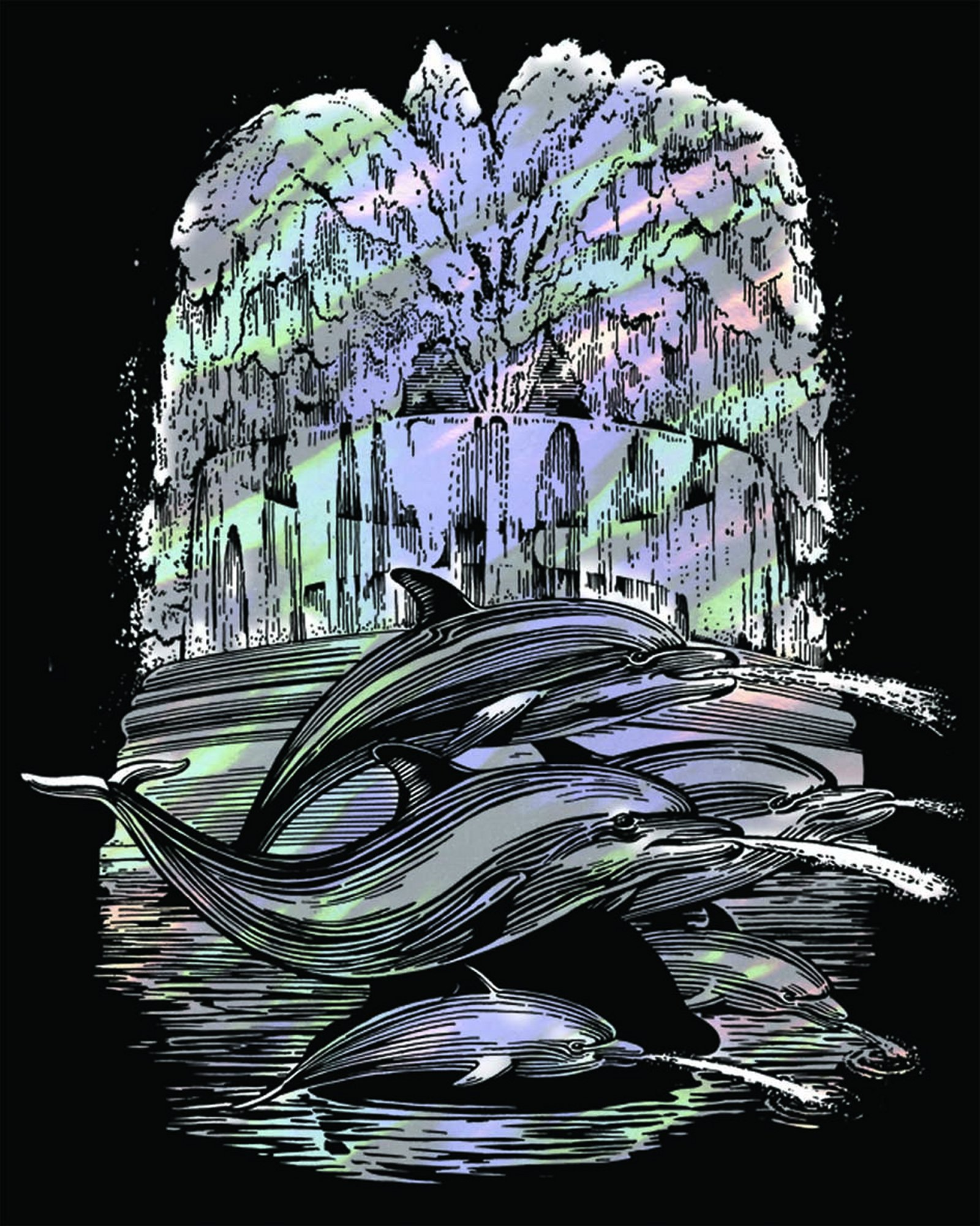 Artfoil Holographic Dolphin Fountain 0546