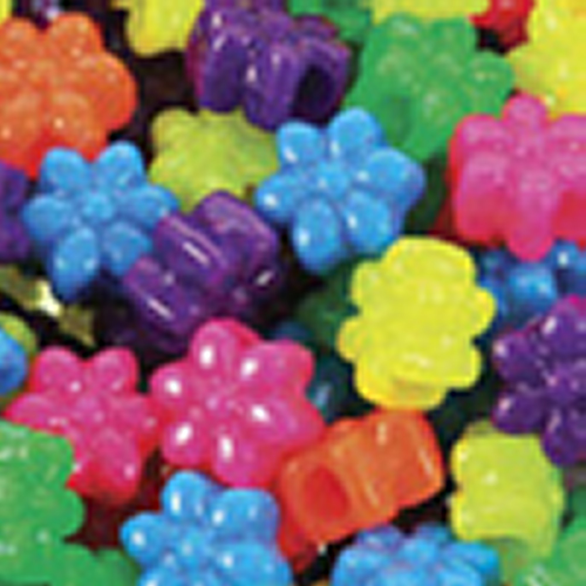 Mixed Neon Flower Pony Beads