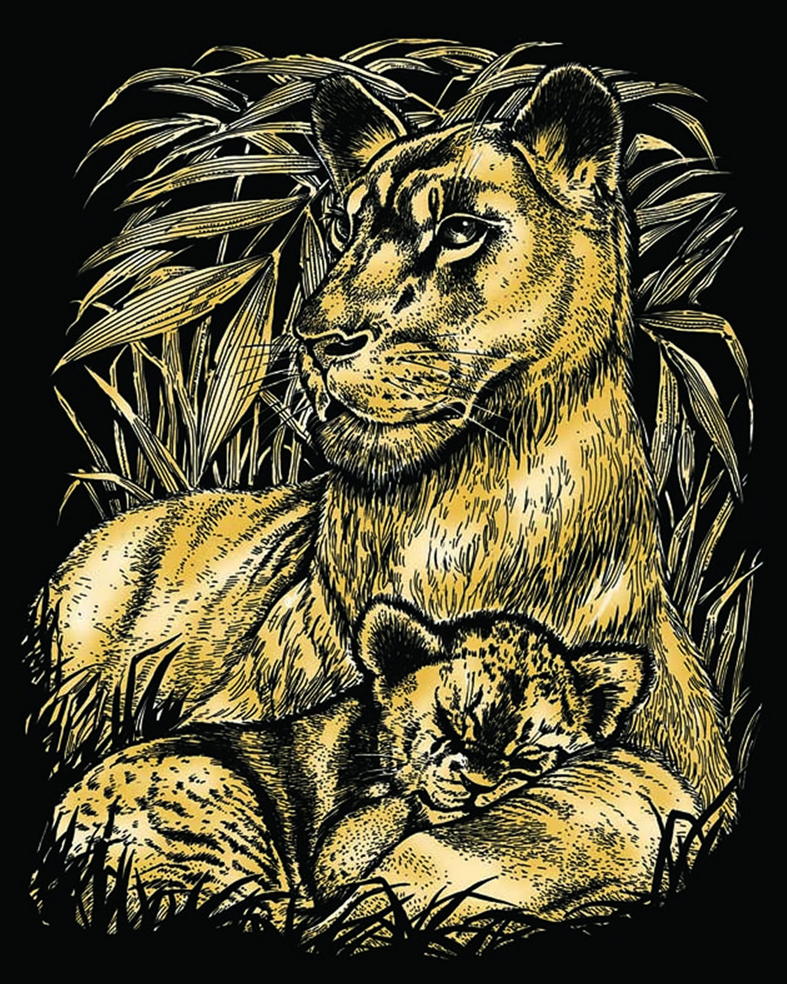 Artfoil Gold Lion and Cub 0603