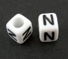 6mm PLASTIC ALPHABET CUBE -- N --