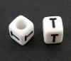 6mm PLASTIC ALPHABET CUBE -- T --